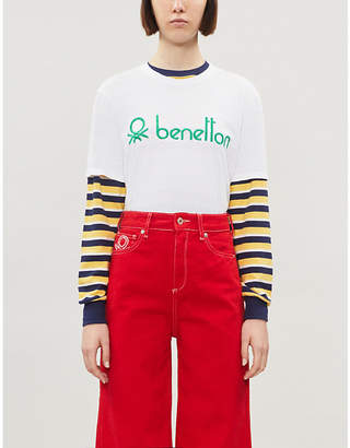 Benetton Embroidered-logo cotton-jersey T-shirt