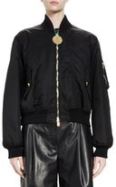 Givenchy Zip-Front Nylon Bomber Jacket, Black