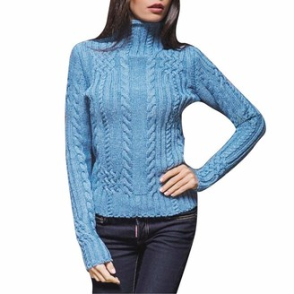 Aiserkly Womens Turtleneck Sweaters Casual Long Sleeve Pullover Slim Chunky Knitted Jumper T-Shirt Tops Cable Knitted Slipover Jersey Blouse Blue M