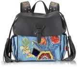 Roberto Cavalli Black Soft Nappa Leather and Embroidered Denim Backpack
