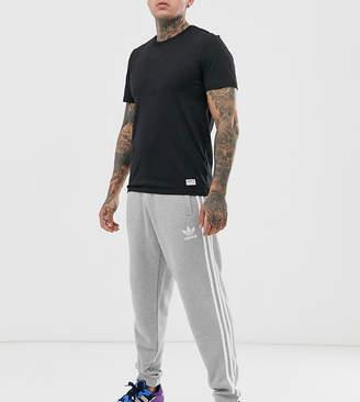 adidas 3- stripe joggers in grey