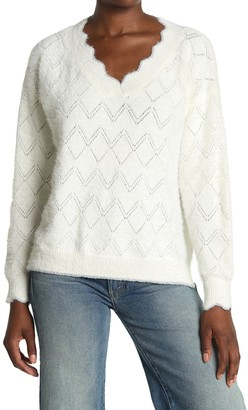 ALL IN FAVOR Scallopd Pointelle Sweater