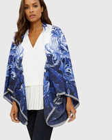 Ted Baker Persian Blue silk cape scarf