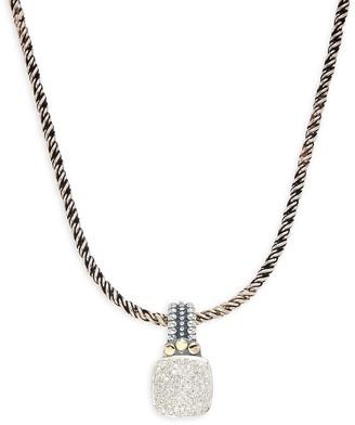 Effy Sterling Silver, 18K Yellow Gold & Diamond Pendant Necklace