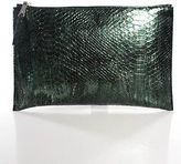 Rochas Green Metallic Python Leti Clutch Handbag