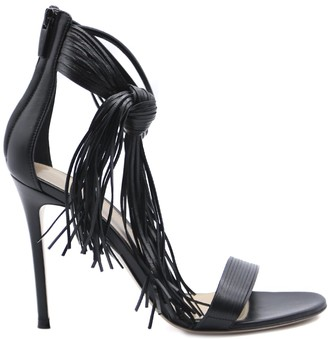 Gianvito Rossi Black Leather Sandals With Fringes