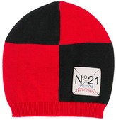 No.21 Kids check knitted hat