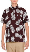 Valentino Pineapple-Print Short-Sleeve Popover Shirt, Burgundy