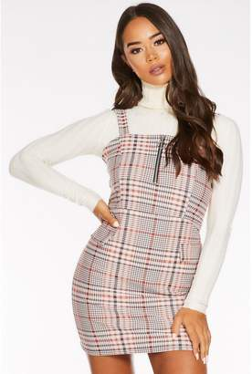 Quiz Rust and Grey Check Zip Front Pinafore Dress