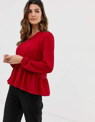 Y.A.S YAS Lumine blouse with frill hem detail-Red