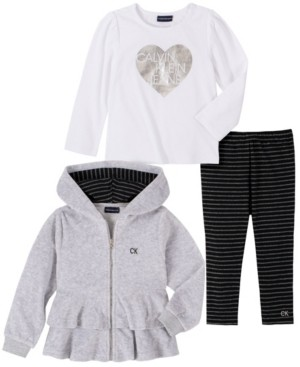 Calvin Klein Little Girl Velour Hooded Short Jacket with A Long Sleeve Top and Striped Legging, 3 Piece Set
