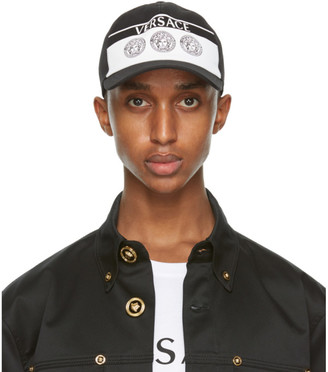 Versace Black and White Triple Medusa Cap