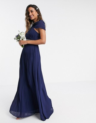TFNC drapey one shoulder maxi bridesmaid dress with embellished waistband