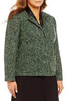 Kasper Plus Tweed Collarless Jacket