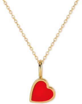 """Sarah Chloe Love Count Enamel Heart 16""""-18"""" Pendant Necklace in 14k Gold Over Sterling Silver"""