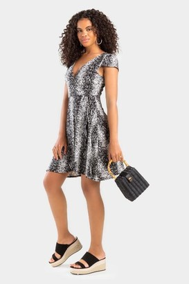 francesca's Sandra Animal Print Wrap Dress - Gray