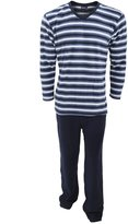 Universal Textiles Mens Striped Fleece Thermal Long Sleeve Top And Pyjama/Loungewear Bottoms Set