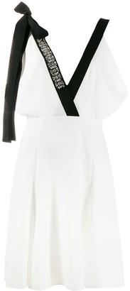 Prada Embellished Plunge Neck Midi Dress