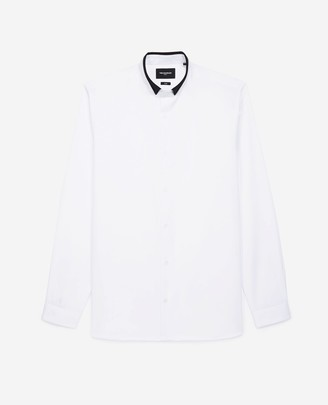 The Kooples White shirt with officer collar and leather