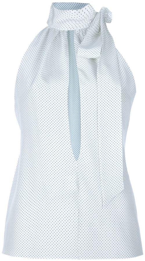 Saint Laurent sleeveless polka dot blouse