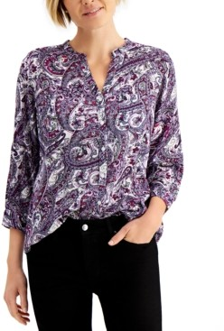 Charter Club Printed Split-Neck Blouse, Created for Macy's