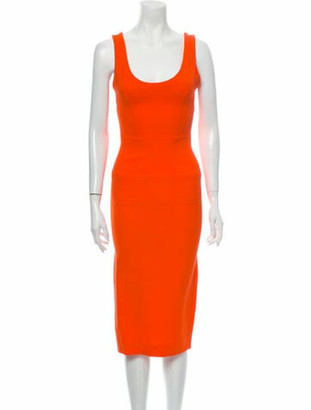 Victoria Beckham Scoop Neck Midi Length Dress Orange