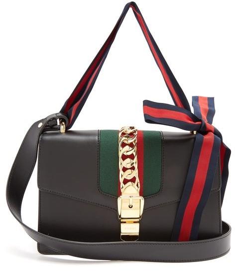 Gucci Sylvie Leather Shoulder Bag - Womens - Black
