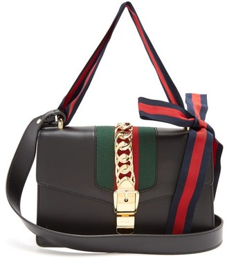 Gucci Sylvie Leather Shoulder Bag - Womens - Black
