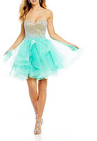 Terani Couture Beaded Bodice Layered Skirt Fit-And-Flare Dress