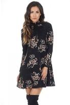 AX Paris Black High Neck Long Sleeve Floral Dress