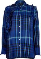 River Island Womens Blue check ruffle long sleeve shirt