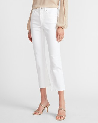 Express High Waisted Original White Cropped Flare Jeans