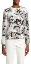 Carolina Herrera Long-Sleeve Paisley-Print Blouse, Black/Beige