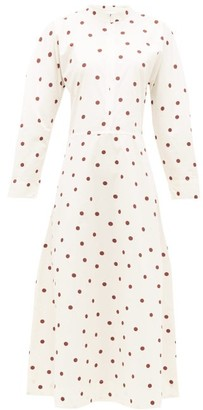 Ganni Zipped-front Polka-dot Cotton-poplin Dress - White Multi