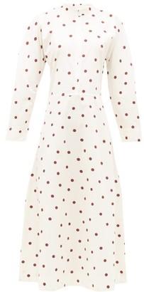 Ganni Zipped-front Polka-dot Cotton-poplin Dress - Womens - White Multi