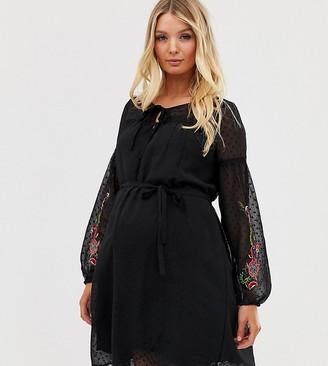 Mama Licious Mamalicious nursing embroidered swing dress