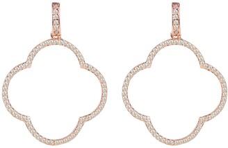 Rosegold Large Open Clover Drop Earrings White Cz