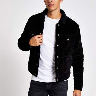 Jack and Jones Mens River Island Black borg collar cord jacket