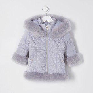 River Island Mini Grey quilted fur hem puffer coat