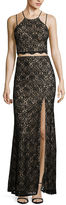 My Michelle Sequin Lace Two-Tone Cutout Long Slim Dress - Juniors