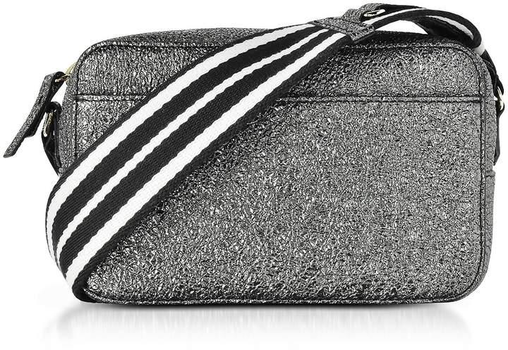 RED Valentino Gunmetal Crackled Metallic Leather Crossbody Bag W/striped Canvas Strap