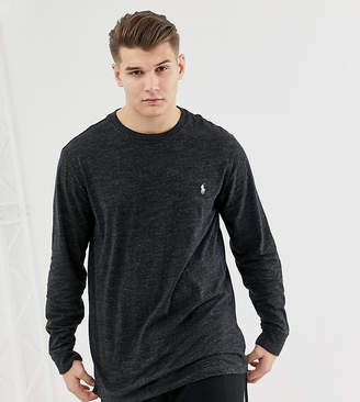 Big & Tall long sleeve top player logo in charcoal marl-Grey