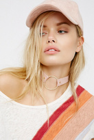 Womens PAVE RING SUEDE CHOKER