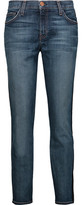 Current/Elliott The Tuxedo Mid-Rise Leather-Trimmed Slim-Leg Jeans