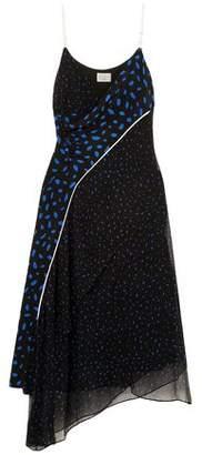 Jason Wu Grey Asymmetric Printed Silk-georgette Midi Dress