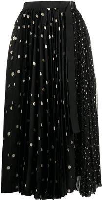 Sacai Contrast Polka Dot Print Pleated Skirt