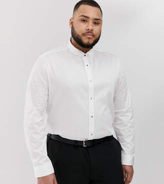 Asos Design DESIGN Plus regular fit white shirt with wing collar & stud buttons