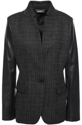 DKNY Faux Leather-paneled Metallic Tweed Blazer
