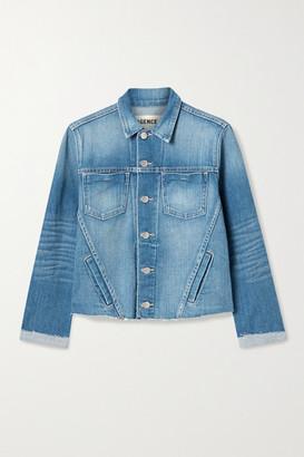 L'Agence Janelle Cropped Frayed Stretch-denim Jacket - Mid denim
