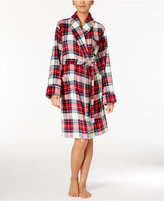 Lauren Ralph Lauren Plush Plaid Short Robe